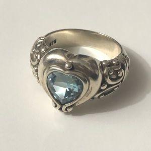 Brighton Prima Donna Blue Topaz Heart Silver Ring